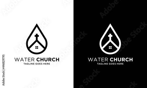 Foto Church building drop shape concept logo design