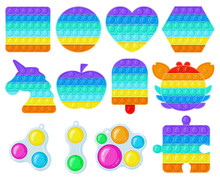 Antistress Pop It And Simple Dimple Toys. Trendy Fidget Children Toys, Sensory And Color Learning For Kids Vector Illustration Set. Silicone Bubbles Toys