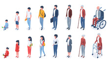 Isometric People Age Generations From Child To Elderly. Human Age Evolution, Kid, Adult And Elderly Characters Vector Illustration Set. Growing Up Stages