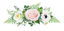 Elegant Floral Bouquet Vector Art Illustration. Tender White Anemone, Blush Pink Quartz And Light Yellow Rose Flowers, Forest Fern Leaves And Eucalyptus Branches. Wedding  Invite Card Designer Element
