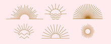 Sun Logo Design Templates. Vector Set Of Linear Boho Icon And Symbols. Minimalistic Line Art Design Elements For Decorating, Social Network, And Poster. Abstract Collection Isolated On Pink Background