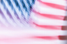 Abstract Blurry American Flag Background. Colorful Element With Patterns And Stripes. Dynamic, Fast Movement, Energy Concept. Artistic Gradient Multicolor Of Blurred Geometric Seamless Wallpaper.