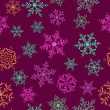 Seamless Pattern Of Complex Christmas Snowflakes In Various Colors On Purple Background
