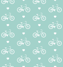 Vector Seamless Pattern Of Flat Cartoon Bicycle And Heart Silhouette Isolated On Mint Green Background