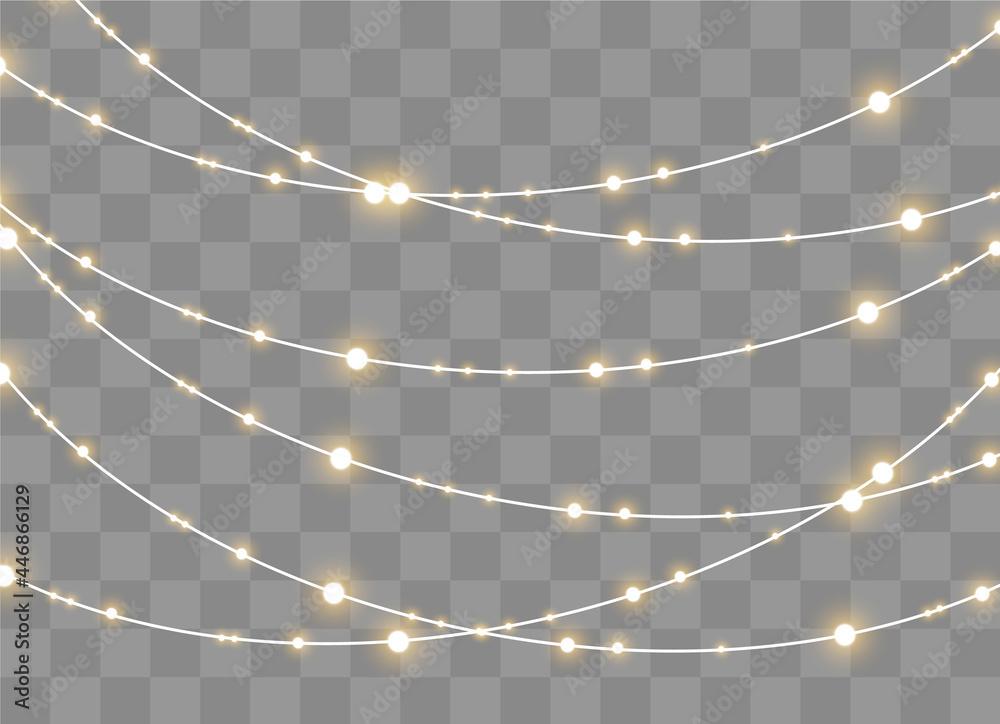Obraz Christmas lights, set of xmas glowing garland. fototapeta, plakat