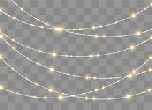 Christmas Lights, Set Of Xmas Glowing Garland.