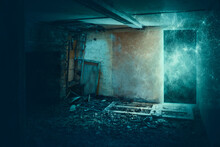 A Science Fiction Concept. Of A Door Turned Into A Glowing Energy Portal N A Decaying Room In An Abandoned Ruined House. With Broken Doors And Windows.