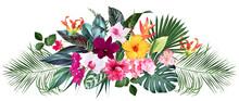 Exotic Tropical Flowers, Orchid, Strelitzia, Hibiscus, Bougainvillea, Gloriosa, Palm, Monstera Leaves Vector Design Bouquet