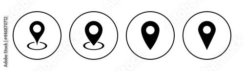 Fotografering Pin icon set. Location icon vector. destination icon. map pin
