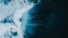 Powerful Wave Breaking In An Overhead View From A Drone
