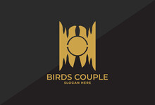 Logo Design With Two Birds Facing Each Other, The Circle In The Middle Is The Nest. Means A Couple Who Are In Love, As Well As A Bird Lover's Logo With A Minimalist Design In Elegant Luxury Colors In