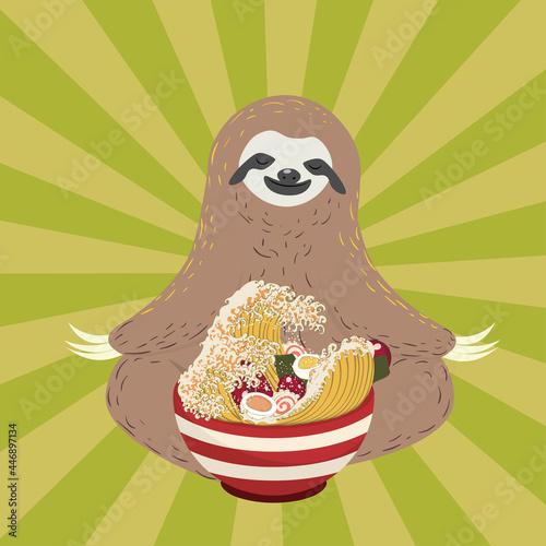 Fototapeta premium Sloth and ramen