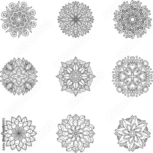 Carta da parati shape, art, henna, isolated, tattoo, ornament, floral, yoga, circle, background,