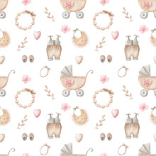 Seamless Pattern For A Baby. Watercolor Illustrations Of Baby Carriage And Baby Items.