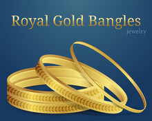 Royal Gold Bangles Or Gold Bracelet Luxury Jewelry Bangle Set With Text Blue Background Vector Illustration