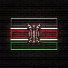 Neon Sign In The Form Of The Flag Of Kenya. Against The Background Of A Brick Wall With A Shadow. For The Design Of Tourist Or Patriotic Themes. The African Continent