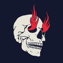 White Hand Drawn Skull With Fire Flames From Eyes Isolated On Black Background For Logo Or Icon Or Emblem Or T-shirt Design. Vector Illustration