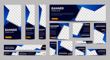 Gradient Blue Banner Templates Set With Standard Size For Web. Business Banner With Place For Photos For Social Media, Cover Ads Banner, Flyer, Invitation Card. Vector EPS 10