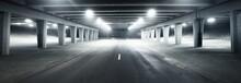 An Empty Illuminated Motorway, Bicycle Road And Pedestrian Walkway Under The Bridge In A Fog At Night. Dark Urban Scene. Riga, Latvia. Dangerous Driving, Concept Image