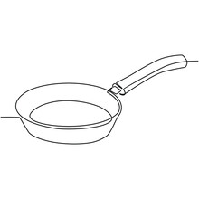 Continuous Line Drawing Of Cooking Skillet Vector Illustration