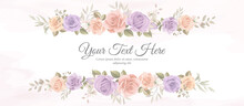 Elegant Banner With Soft Color Of Blooming Rose Flower Ornament
