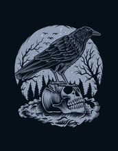 Illustration Scary Crow Bird With Skull