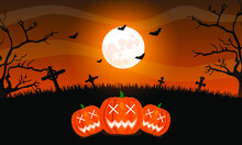 Illustration Vector Graphic Of Halloween Background In Flat Design