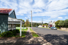Main Street Of Tiny Rural Country Town In Australia With Old Buildings And One Parked Car