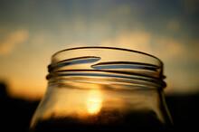 Opened Empty Bottle On Sunset Kitchen