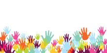 Creative Kids Handprints Preschool Education Concept Background