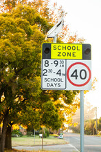 School Zone Sign On Autumn Day