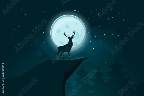 Fototapeta Deer Stands Rock Moonlit Night Illustration