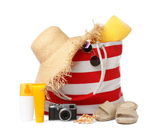 Stylish Bag With Beach Accessories And Camera Isolated On White