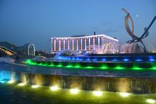 MOSCOW, RUSSIA - JULY 15, 2021: Fountain Near Kievsky Railway Station