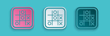 Paper Cut Tic Tac Toe Game Icon Isolated On Blue Background. Paper Art Style. Vector