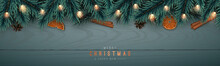 Festive Horizontal Banner With Realistic Spruce Garland On Wooden Background. Christmas Border With Fir Tree Branches, Lights And Pine Cones . Vector Illustration.