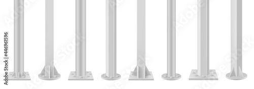 Vászonkép Collection of realistic metal poles vector illustration