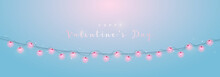 Valentine's Day Horizontal Banner With Glowing Lights In Formed Hearts. Festive Vector Banner With Lights Garlands.