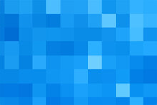 Vector Blue Background. Geometric Texture From Blue Squares. Abstract Pattern Of Square Pixels. A Backing Of Mosaic Squares. Vector Illustration