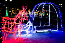 """Christmas Composition. Light Installation """"a Donkey At The Nursery Of A Little Christ"""" From A Luminous Garland"""