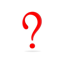 Red Question Mark Isolated On White Background