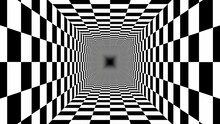 Endless Tunnel Checkerboard Pattern Black White Perspective Illusion - Abstract Background Texture