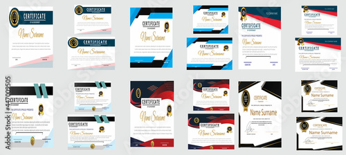 Fotografering Certificate of appreciation template, gold and blue color
