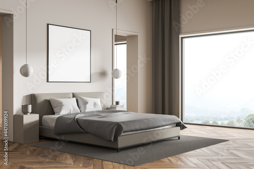 Poster for your design in the panoramic beige bedroom with grey bed