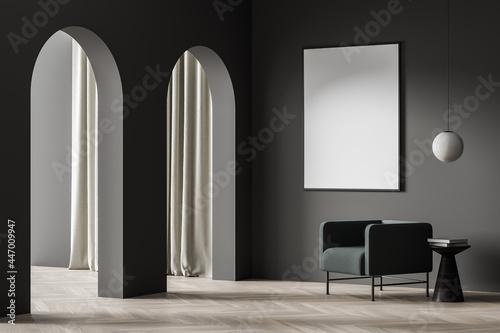 Billede på lærred White poster in the dark room corner with the archways and armchair
