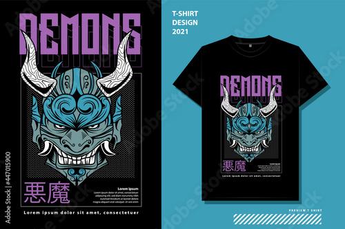 Fotografering demons street wear t-shirt design template