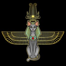 Animation Color Portrait Ancient Egyptian Goddess Bastet (Bast). Sacred Winged Cat With A Divine Crown On The Head. Vector Illustration Isolated On A Black Background. Print, Poster