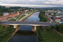 The Dnieper River In The Cityscape On A July Morning (aerial Photography). Smolensk, Russia