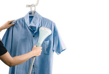A Woman Ironing Clothes With Steam Iron A Woman Ironing Clothes With Steam Iron White Background