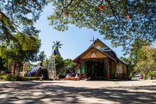 KUT CHUM, YASOTHON - JAN03, 2021: Ban Song Yae Church Is The Largest Wooden Church In Yasothon Province, Thailand